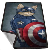 Captain America Cat jempolkaki 193f0ceb-3764-4e85-af71-e25829877688 for Kids Blanket, Fleece Blanket Cute and Awesome Blanket for your bedding, Blanket fleece *02*