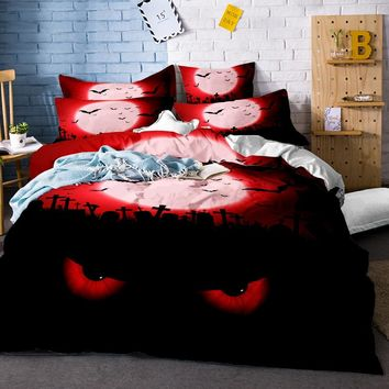 Halloween Bedding Set Skulls Leopard Bedding Set 3Pcs FNAF's Quilt Cover Set Skeleton Printing Twin Queen King