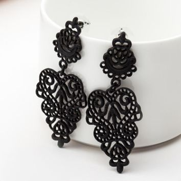 Fashion Women Dangle Earring Bohemia Style Black Alloy Pierced Long Dangle Drop Earrings Jewelry Accessories