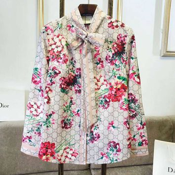 GUCCI Hot Sale Women Casual Flower Print Long Sleeve Top Shirt