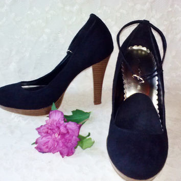 "Black Suede Velvet Leather Mary Jane Shoes Vintage Pumps Wood Grain Look 4"" Heels Non Slip Insole Inserts Ankle Strap Goth Funeral Party"