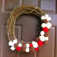 Christmas Wreath Burlap Roses for Front Door on Grapevine Form
