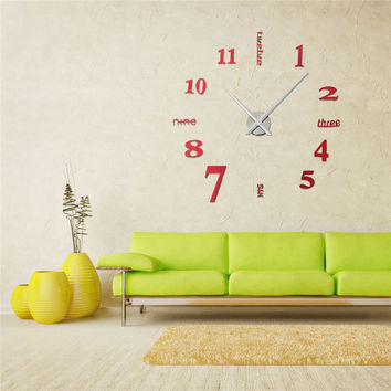 DIY 3D Modern Red Mirror Surface EVA Wall Clock Sticker Home Office Decor