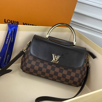 HCXX 19June 387 Louis Vuitton LV Spring Street Mongram Vernis Paint cowhide Fashion Handbag Flap Bag Doctor Bag 26-17-10 black brown