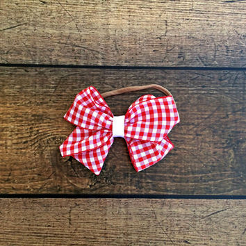 red gingham bow, ribbon bow baby headband, gingham baby clothes, nylon baby headband, baby bib sets, baby bow sets, baby shower gift, bow