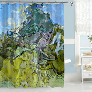 Contemporary shower curtain, abstract art, blue and green shower curtain, Mountain View