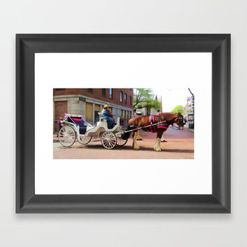 A horse-drawn carriage ride Framed Art Print by lanjee