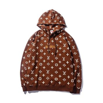 LV Louis Vuitton & Supreme co-branded men and women couple fashion hooded sweater F-CP-ZDL-YXC Coffee