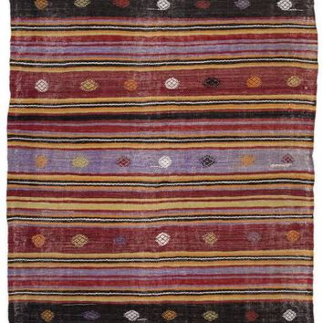 Handmade  Unique Striped Over Dyed Kilim Rug 4'8'' x 11'6'' ft 143 x 350 cm   (Free Shipping)