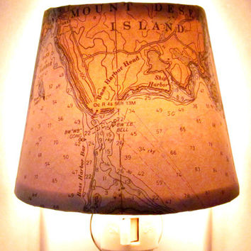 Nautical Night Light of Down East Maine featuring Mount Desert Island.  (Created with a vintage nautical chart reproduction.)