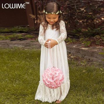 2015 Long Sleeve Communion Flowergirl Gown For Wedding Party Kids Bridal Robe Fille Mariage Vintage Lace Flower Girl  Dresses