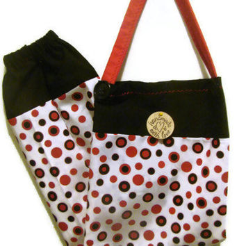 Fabric Plastic Bag Holder/ Grocery Bag Holder/ Red and Black Circles