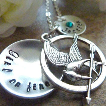 Girl on fire Necklace Mockingjay Hand stamped Jewelry Birthstone name jewelry