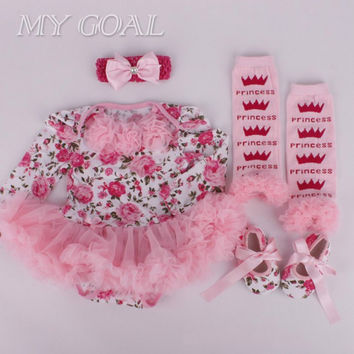 Baby girl clothes Newborn baby Romper Tutu dress+headband+shoes+leggings 4pcs/set Baby girl clothing set