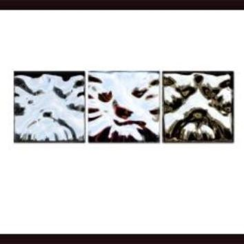 Mixed Abstract - Three Dog Night - Triptych, framed black wood, white matte