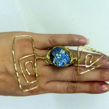 Abstract arrow huge ring in nugold brass, natural rough druzy stone , big statement art ring , huge abstract modern design , brutalist