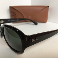 New Ray-Ban RB 4198 RB4198 601 Polished Black 55mm Sunglasses Italy