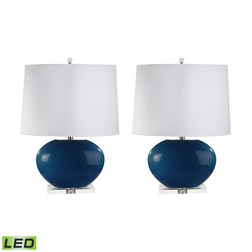 318/S2-LED Blown Glass Oval LED Table Lamp In Royal Blue - Set of 2