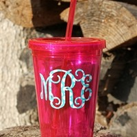 Vinyl Monogrammed Tumbler with Straw