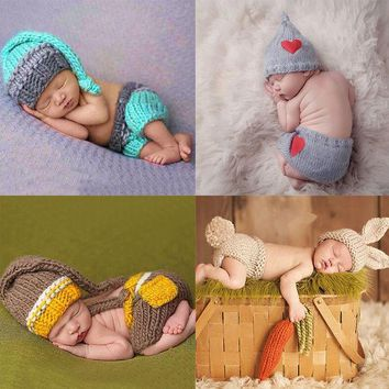 ESBONJ Newborn Baby Cute Crochet Knit Costume Prop Outfits Photo Photography Baby Hat Photo Props New born baby girls Cute Outfits