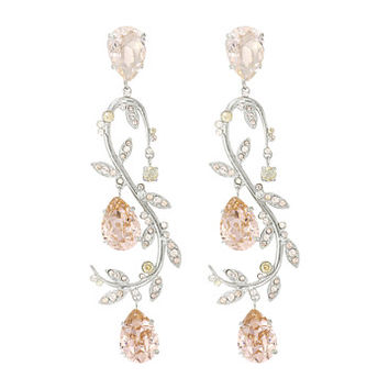 Oscar de la Renta Crystal Leaf Swirl P Earrings