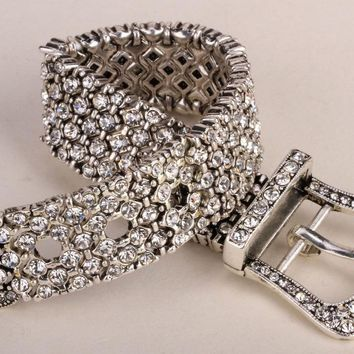 SHIPS FROM USA Belt buckle stretch chain link bracelet women bling jewelry gifts antique silver gold black W crystal D29