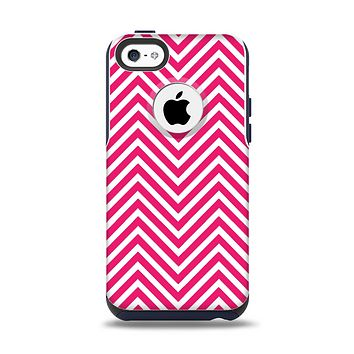 The White & Pink Sharp Chevron Pattern Apple iPhone 5c Otterbox Commuter Case Skin Set