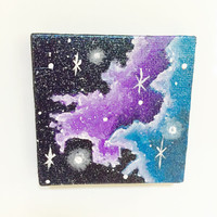 Galaxy Painting, Miniature Canvas, Affordable Art, Original Artwork, Space Print, Stars, Night Sky, Acrylic, Gift