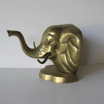 Vintage Solid Brass Elephant, Home Decor, Home and Living, Paperweight, Bookend