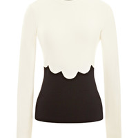Wool Jersey Sweater with Scallop Detail by Valentino - Moda Operandi