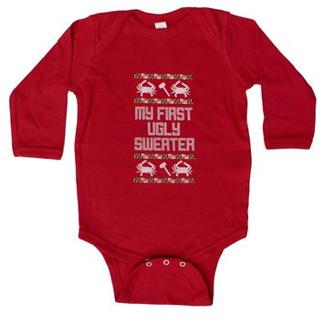 *PRE-ORDER* My First Ugly Sweater Long Sleeve (Red) / Baby Onesuit (Estimated Arrival Date: 12/1)