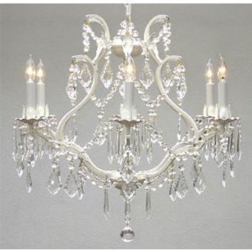 "WHITE WROUGHT IRON CRYSTAL CHANDELIER LIGHTING *FREE SHIPPING!* H 19"" W 20"" - A83-WHITE/3530/6"
