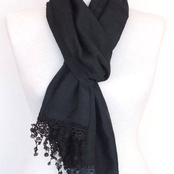 ON SALE Stylish Black Cotton Scarf With Fringed Lace, Woman, For Gift, Spring Sale