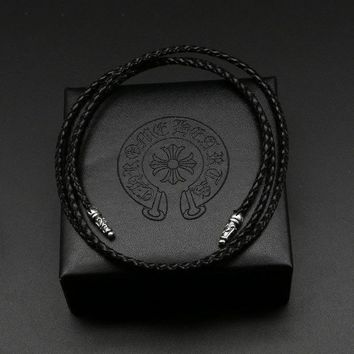 Silver Black Leather Rope Buckle Men Lanyard Simple Fashion Personality Sterling Silver Lanyard