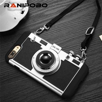 Newest Camera Phone Case For iPhone 7 7 Plus 6 6s 6plus 6s plus 5 5S Novel Style soft silicone Long Strap Rope back covers