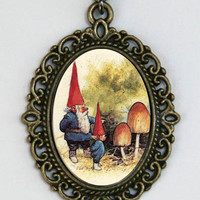Garden Gnome necklace looking at mushrooms fairytale by che655