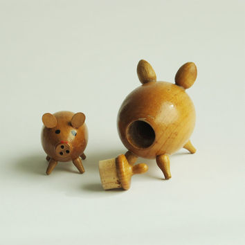 Mid Century Wooden Pigs Salt and Pepper Shakers.