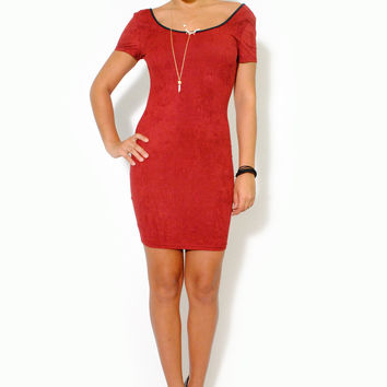 (alu) Low scoop back short suede burgundy dress