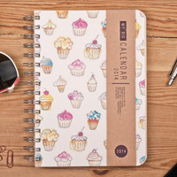 2014 Weekly Planner Calendar Diary Spiral A5 Cupcakes For Her This Day Planner - Valentine's day New Year Gift Idea