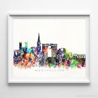 Montpellier France Watercolor Skyline Wall Art Home Decor Poster UNFRAMED by Inkist Prints