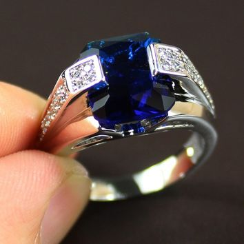 Men's Silver Big Blue Created Sapphire CZ Gem Crystal Stone Ring