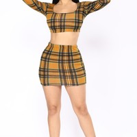 Attendance Skirt Set - Mustard/Multi