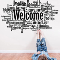 Welcome Inspirational Decal, Welcome Wall Sticker, Welcome in Many Languages Decor, Welcome Wall Art Design All Languages Room Sign se142