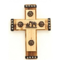 Western Moments Layered Wood with Metal Conchos Wall Cross Prayer Western Cross