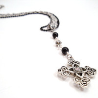 Gothic Rosary Cross Necklace by SerenityInChains on Etsy