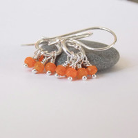 VALENTINE'S DAY, Orange Earrings, Silver Wire Wrapped Earrings Orange Beaded Earrings Small Silver Ring Earrings Colorful Fun Playful