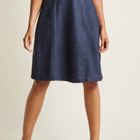High-Waisted Midi Skirt with Buttons