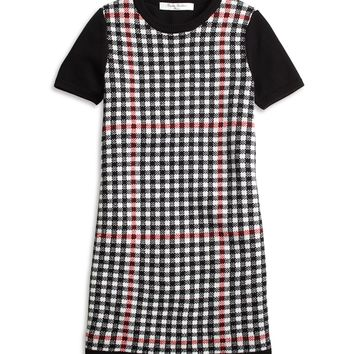 Girls' Short-Sleeve Windowpane Sweater Dress | Brooks Brothers