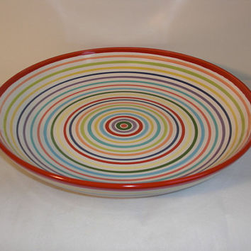 Large Pasta Ceramic Serving Bowl in Rainbow Color by InAGlaze