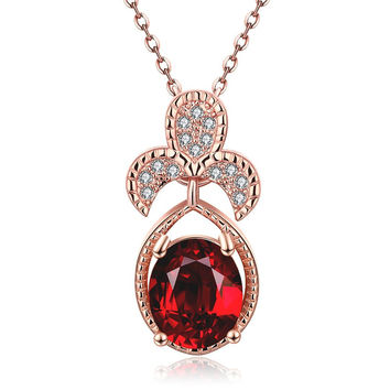 Rose Gold Plated Trio Petals Ruby Pendant Necklace